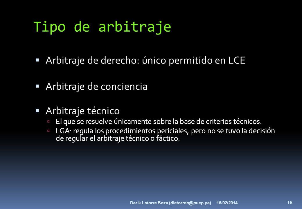 Tipo de arbitraje Arbitraje de derecho: único permitido en LCE