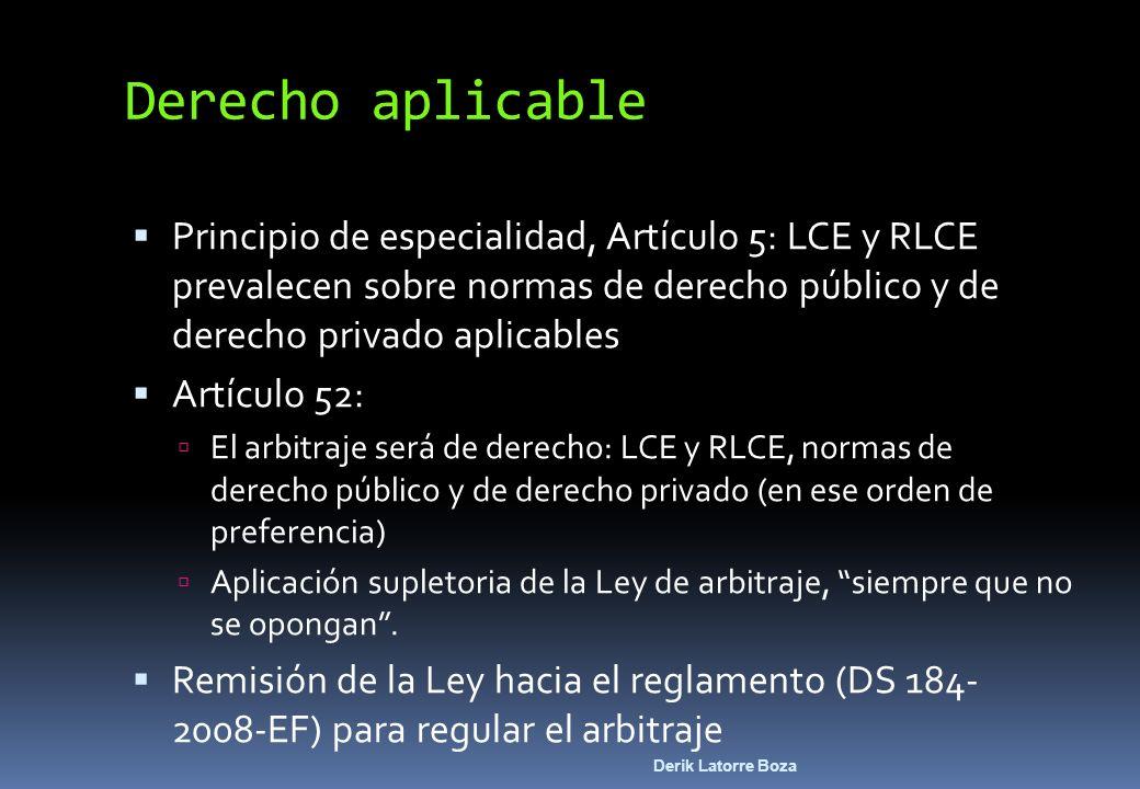 Derecho aplicablePrincipio de especialidad, Artículo 5: LCE y RLCE prevalecen sobre normas de derecho público y de derecho privado aplicables.