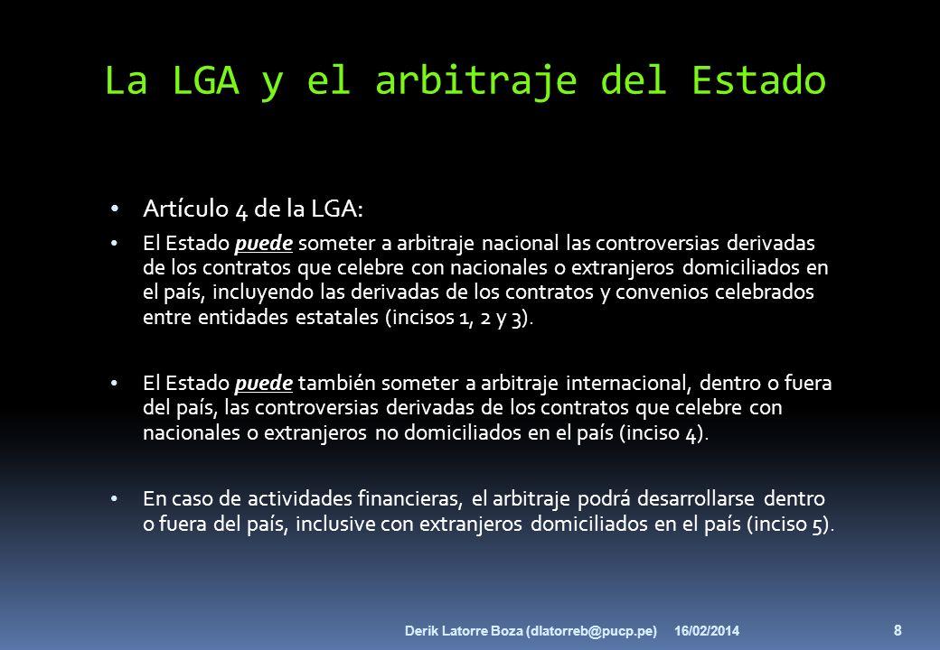 La LGA y el arbitraje del Estado