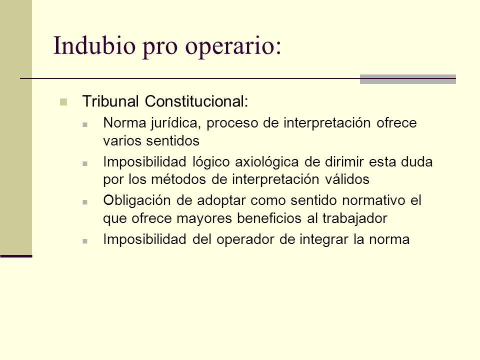 Indubio pro operario: Tribunal Constitucional: