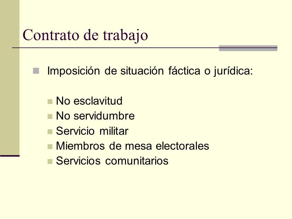 Contrato de trabajo Imposición de situación fáctica o jurídica: