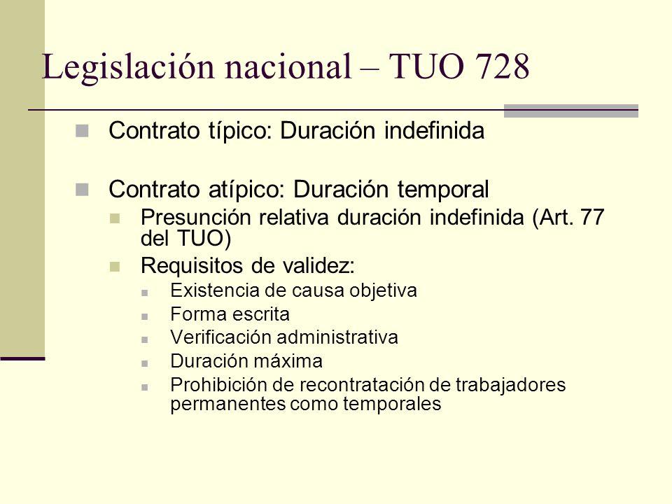 Legislación nacional – TUO 728