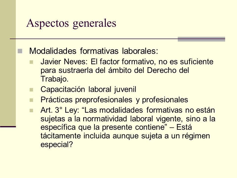 Aspectos generales Modalidades formativas laborales: