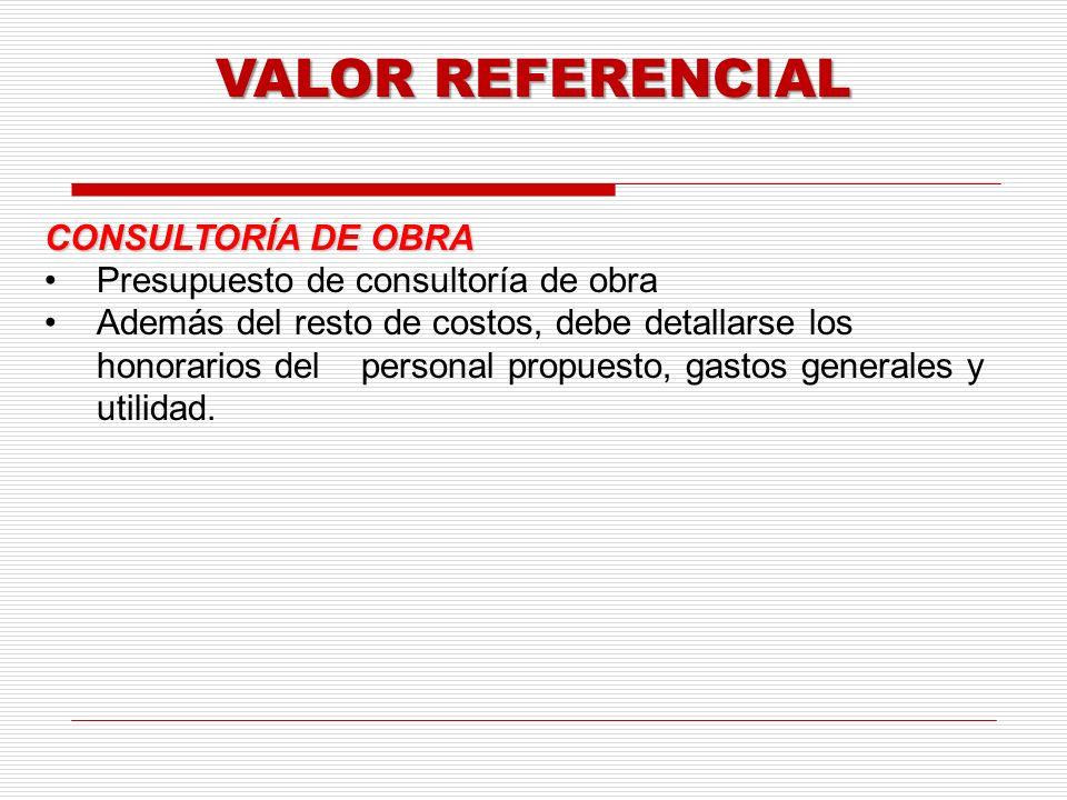 VALOR REFERENCIAL CONSULTORÍA DE OBRA