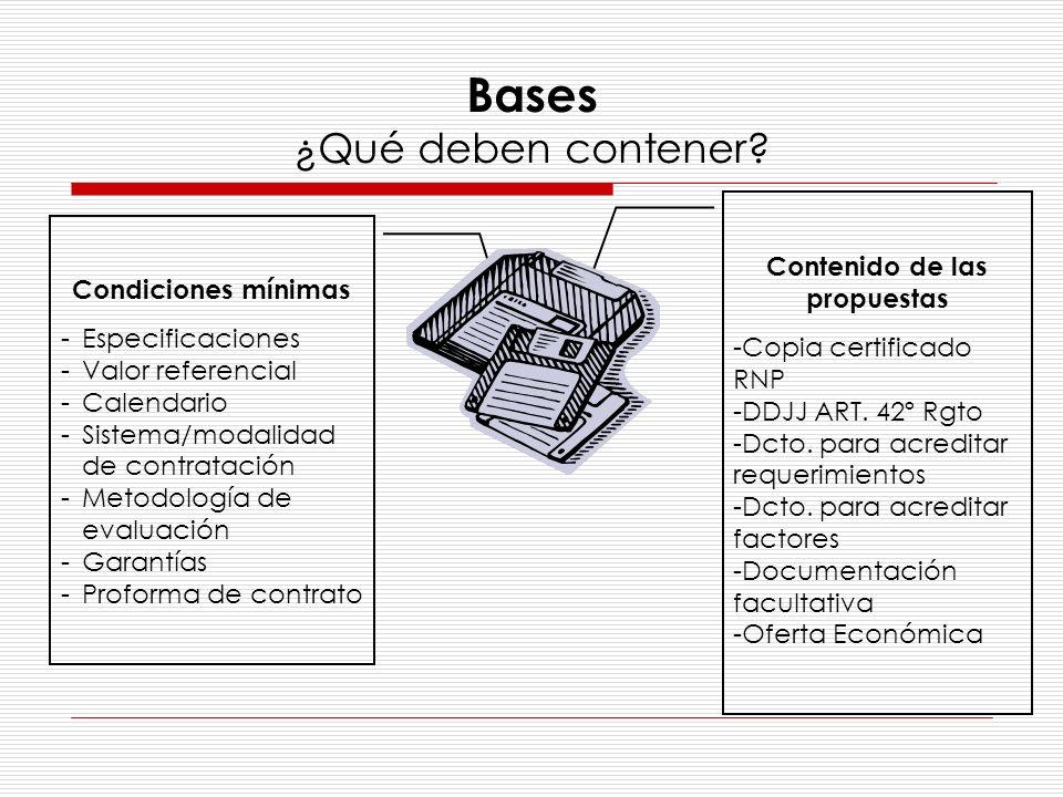 Bases ¿Qué deben contener