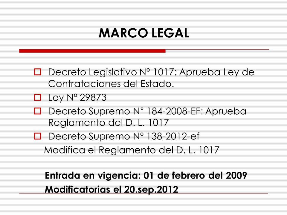 MARCO LEGAL Decreto Legislativo Nº 1017: Aprueba Ley de Contrataciones del Estado. Ley Nº 29873.