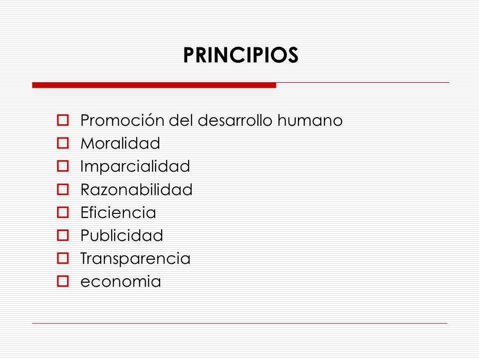 PRINCIPIOS Promoción del desarrollo humano Moralidad Imparcialidad