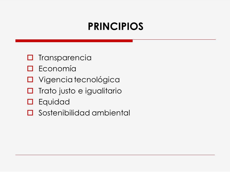 PRINCIPIOS Transparencia Economía Vigencia tecnológica