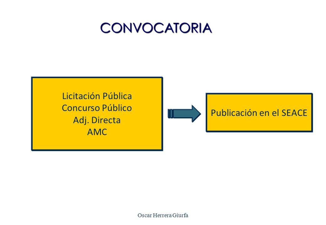 CONVOCATORIA Licitación Pública Concurso Público Adj. Directa