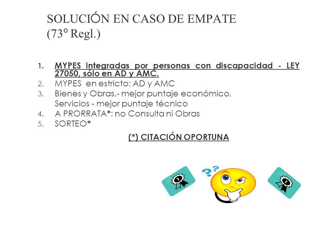 SOLUCIÓN EN CASO DE EMPATE (73º Regl.)
