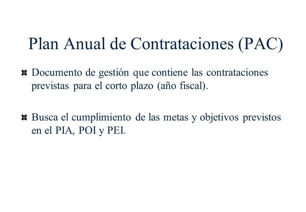 Plan Anual de Contrataciones (PAC)