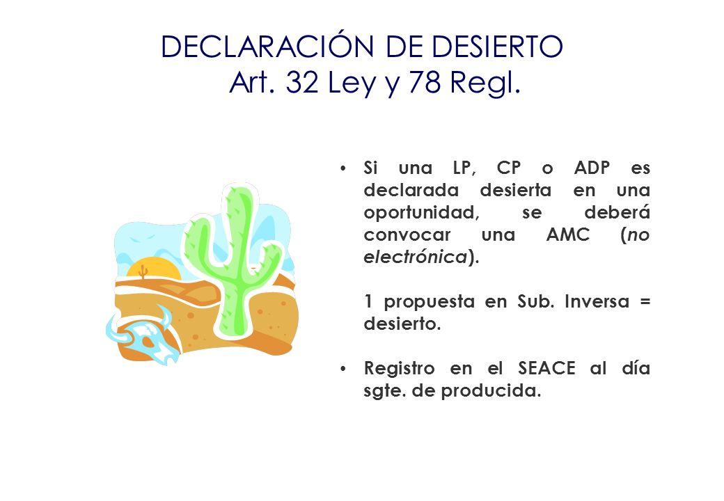 DECLARACIÓN DE DESIERTO Art. 32 Ley y 78 Regl.