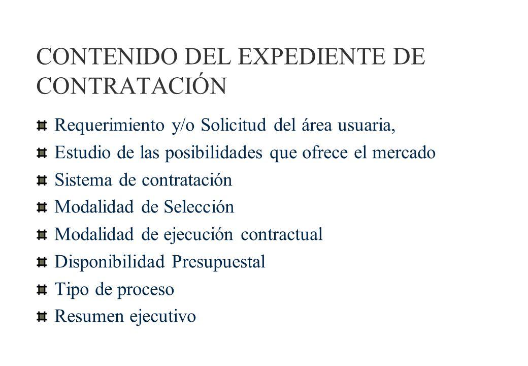 CONTENIDO DEL EXPEDIENTE DE CONTRATACIÓN