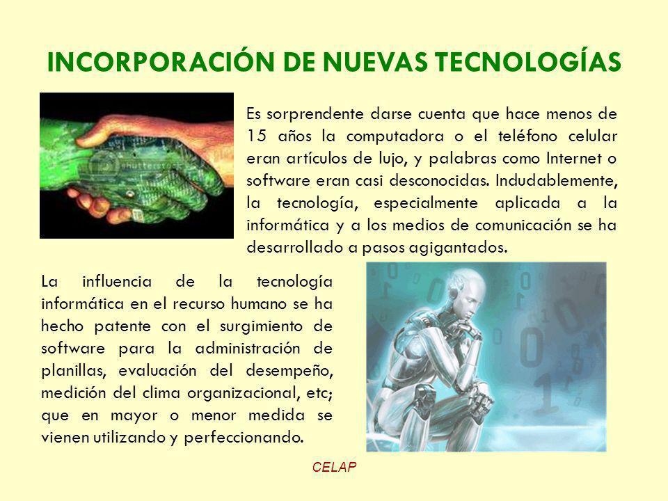 INCORPORACIÓN DE NUEVAS TECNOLOGÍAS