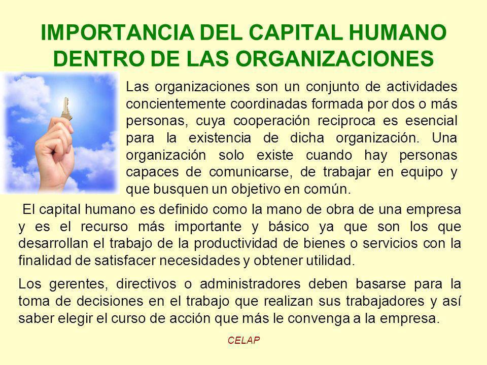 IMPORTANCIA DEL CAPITAL HUMANO DENTRO DE LAS ORGANIZACIONES