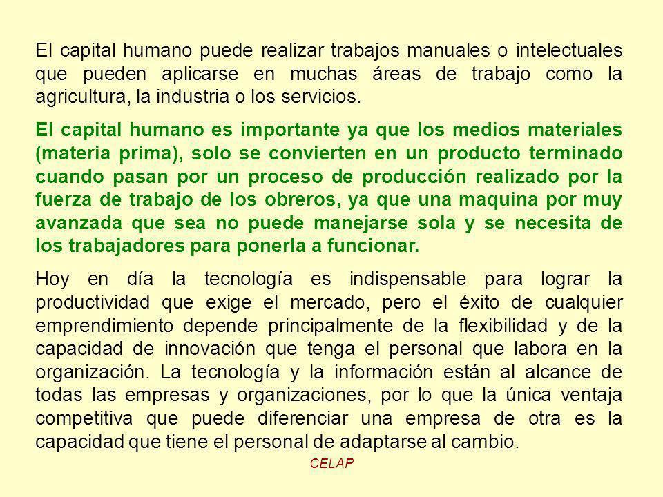 El capital humano puede realizar trabajos manuales o intelectuales que pueden aplicarse en muchas áreas de trabajo como la agricultura, la industria o los servicios.