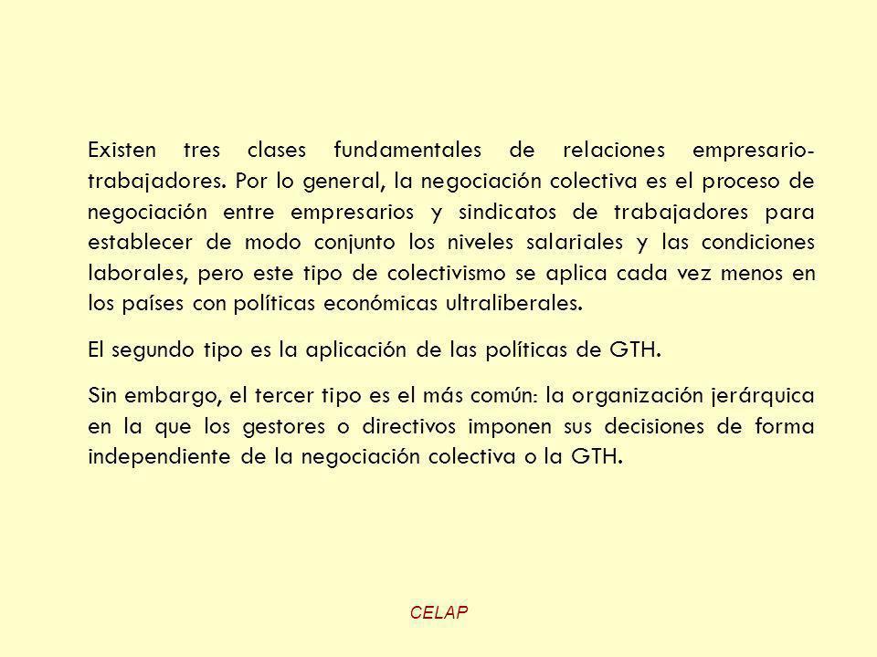 El segundo tipo es la aplicación de las políticas de GTH.