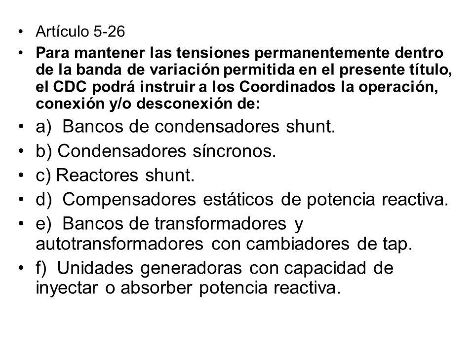 a) Bancos de condensadores shunt. b) Condensadores síncronos.
