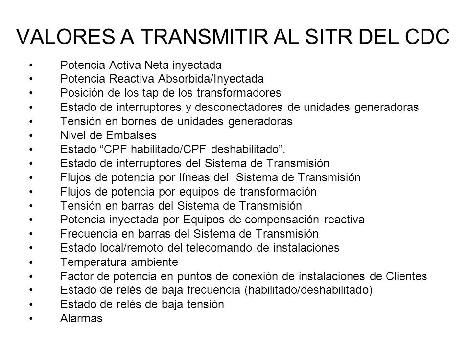 VALORES A TRANSMITIR AL SITR DEL CDC