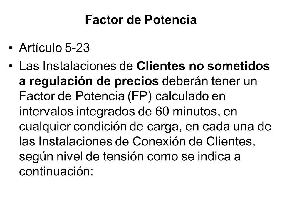 Factor de Potencia Artículo 5-23.