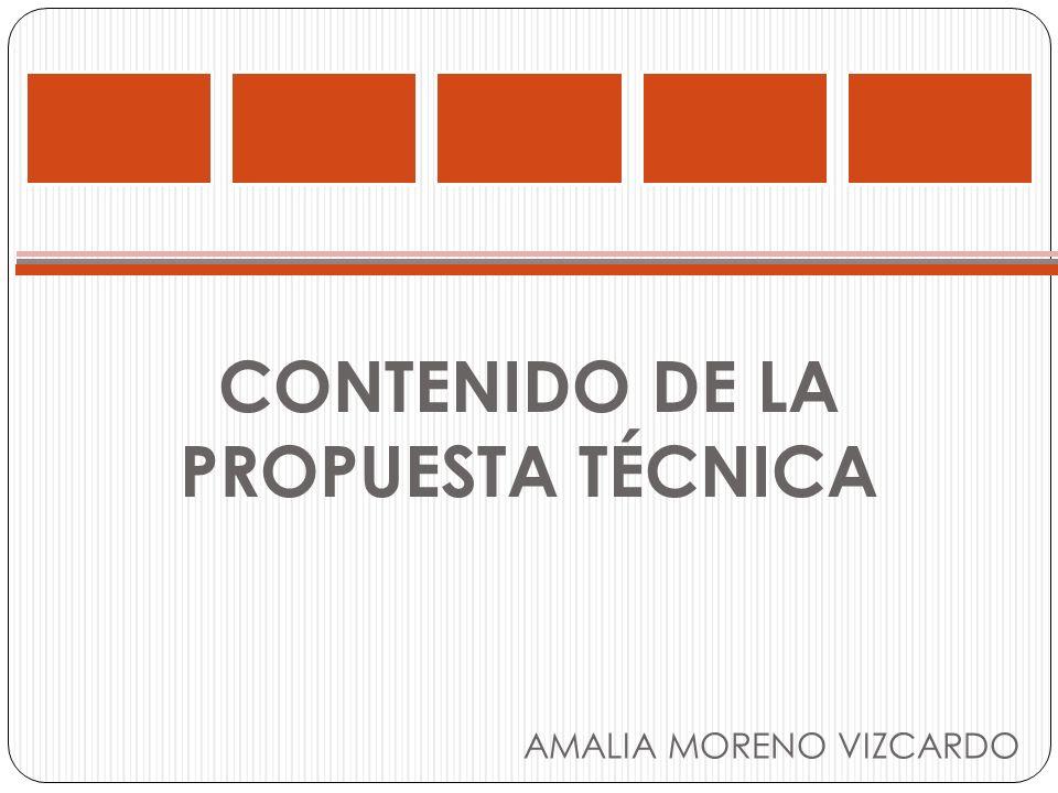 CONTENIDO DE LA PROPUESTA TÉCNICA