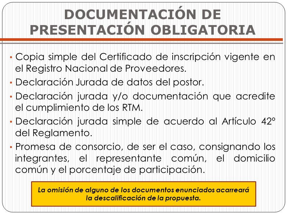 DOCUMENTACIÓN DE PRESENTACIÓN OBLIGATORIA