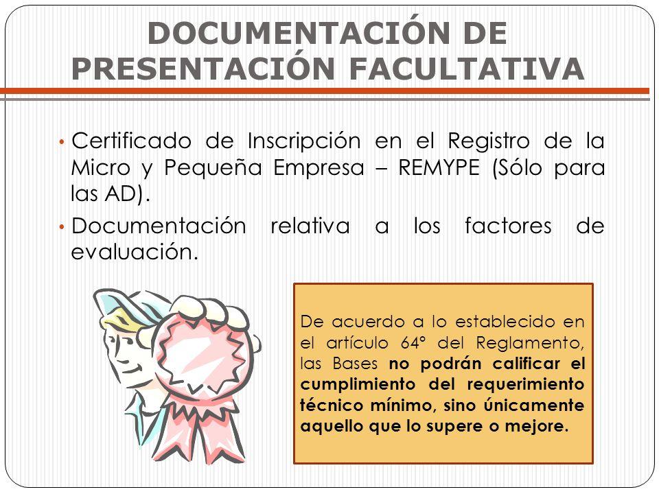 DOCUMENTACIÓN DE PRESENTACIÓN FACULTATIVA