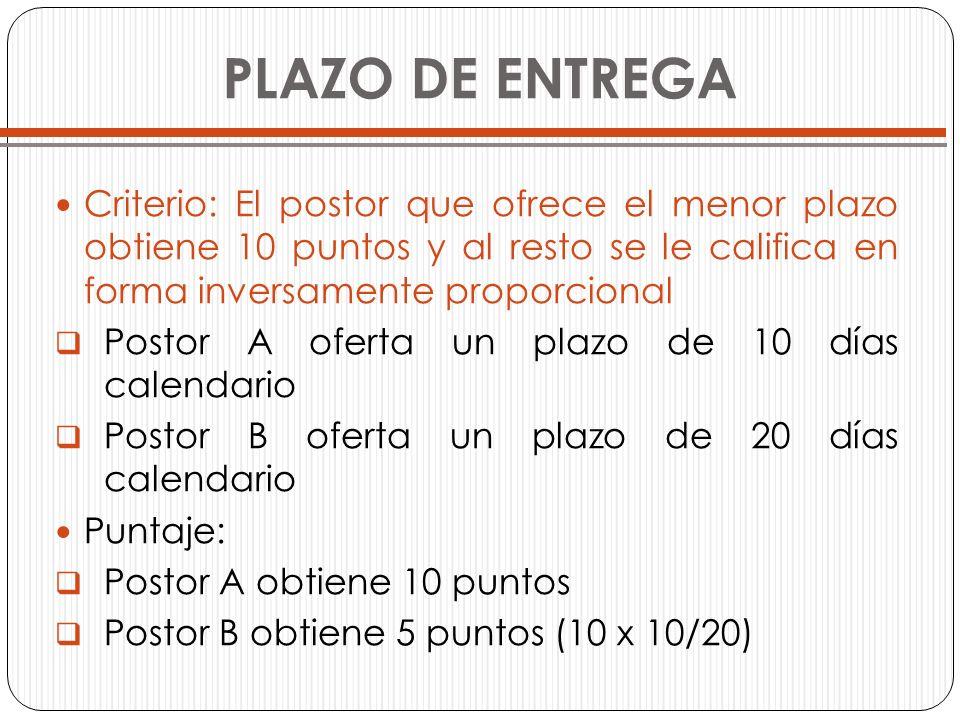 PLAZO DE ENTREGACriterio: El postor que ofrece el menor plazo obtiene 10 puntos y al resto se le califica en forma inversamente proporcional.