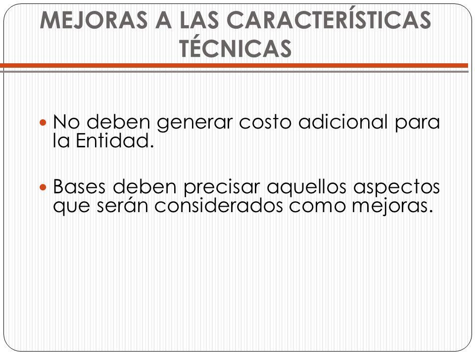 MEJORAS A LAS CARACTERÍSTICAS TÉCNICAS