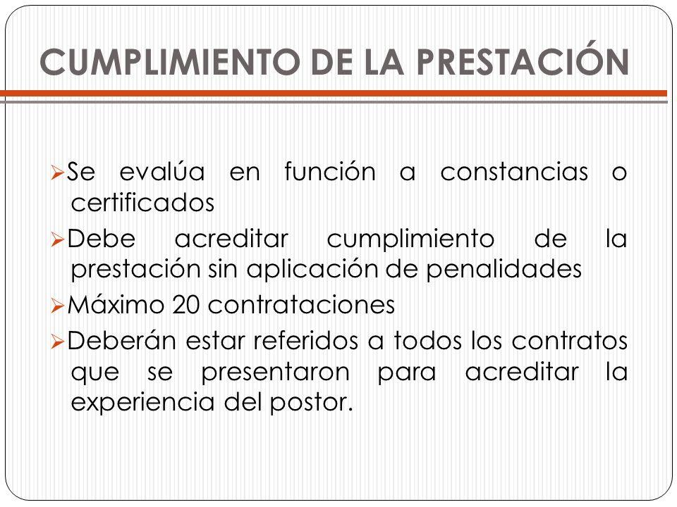 CUMPLIMIENTO DE LA PRESTACIÓN