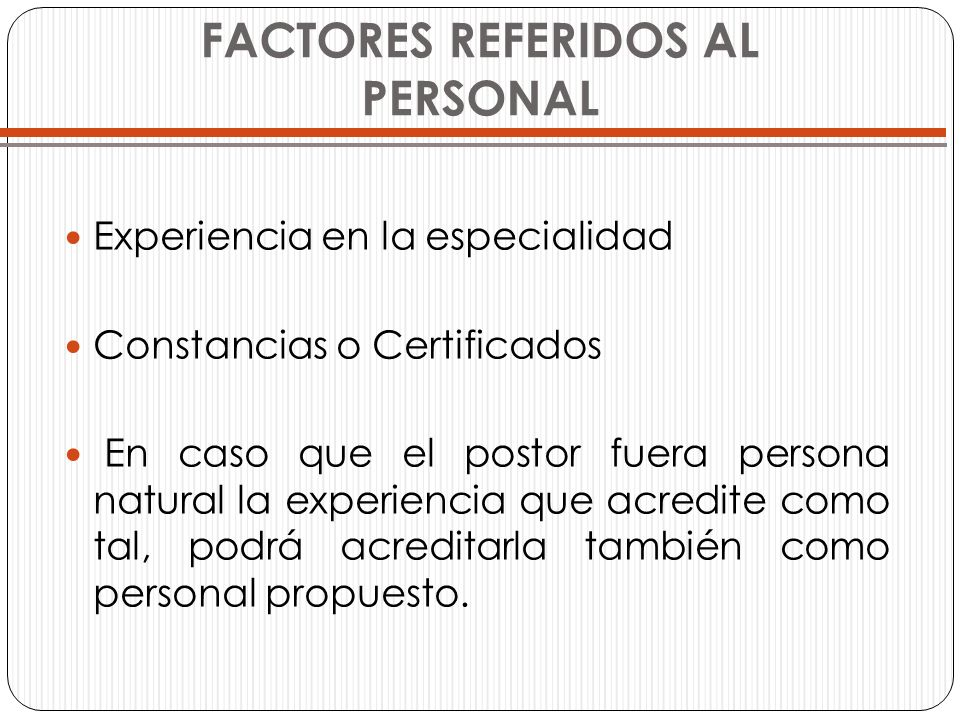 FACTORES REFERIDOS AL PERSONAL