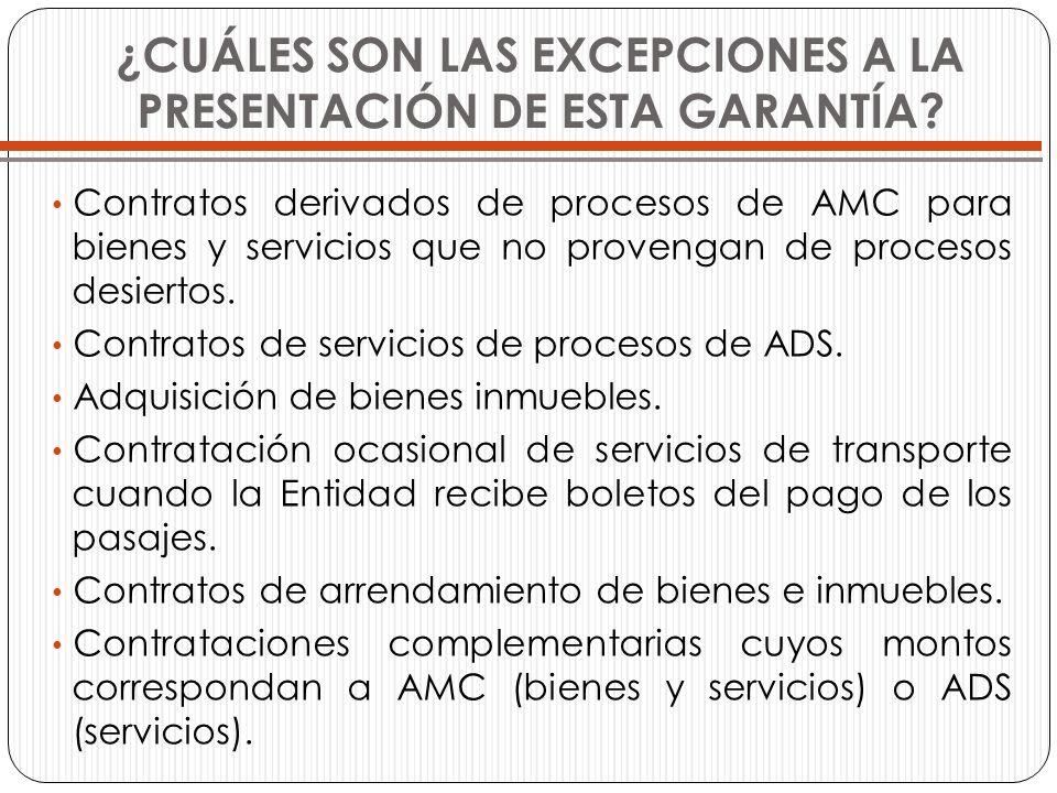 ¿CUÁLES SON LAS EXCEPCIONES A LA PRESENTACIÓN DE ESTA GARANTÍA