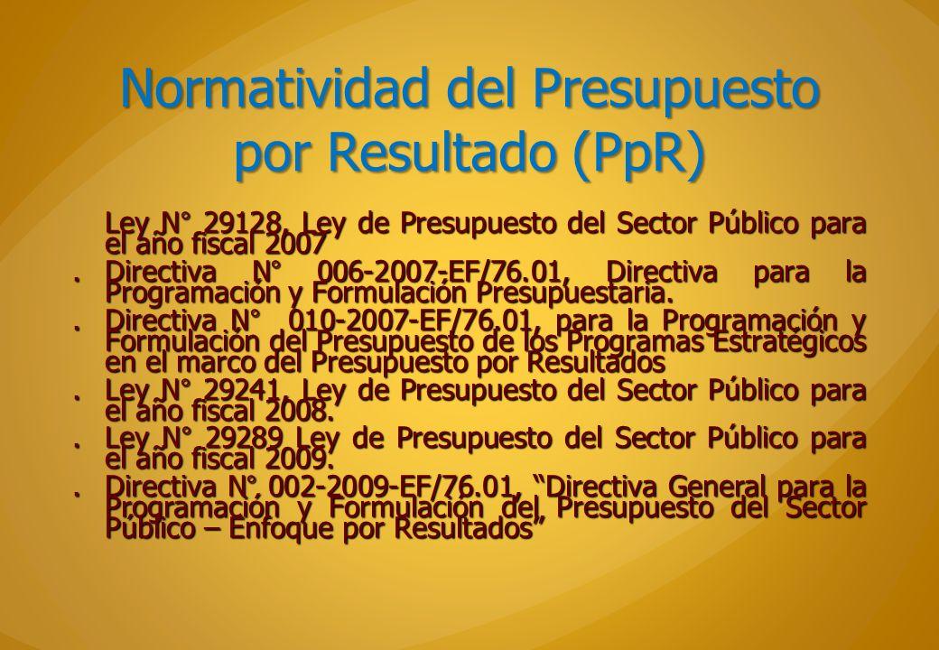 Normatividad del Presupuesto por Resultado (PpR)