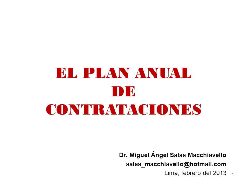 EL PLAN ANUAL DE CONTRATACIONES