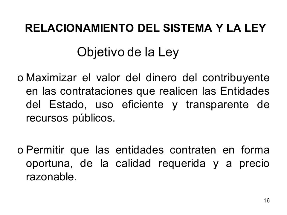 RELACIONAMIENTO DEL SISTEMA Y LA LEY