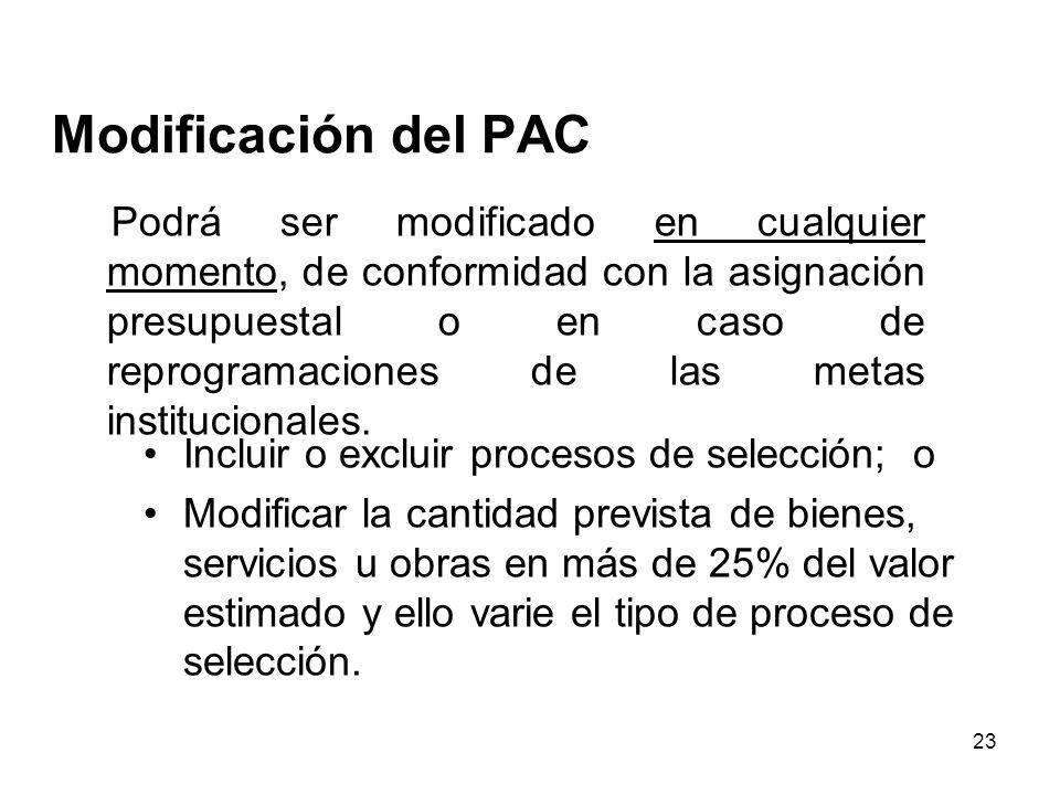 Modificación del PAC