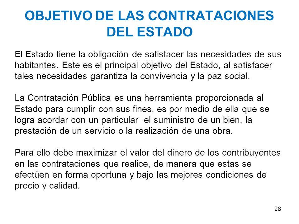 OBJETIVO DE LAS CONTRATACIONES DEL ESTADO