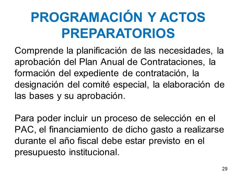 PROGRAMACIÓN Y ACTOS PREPARATORIOS