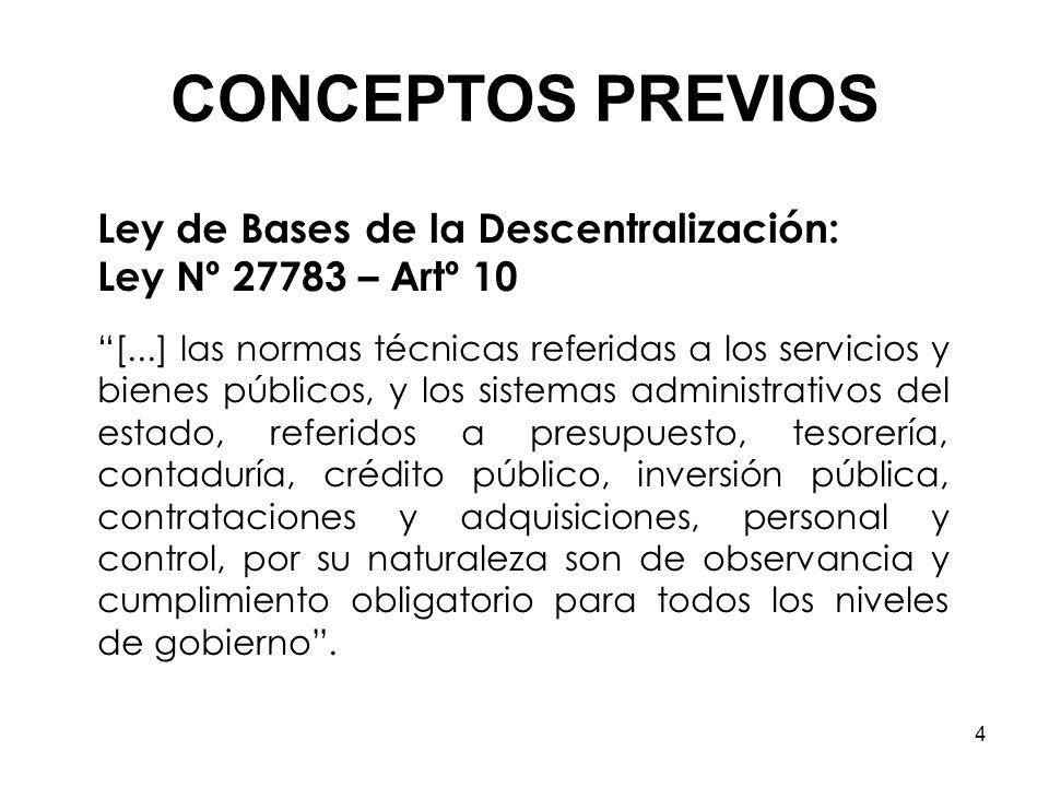 CONCEPTOS PREVIOS Ley de Bases de la Descentralización: