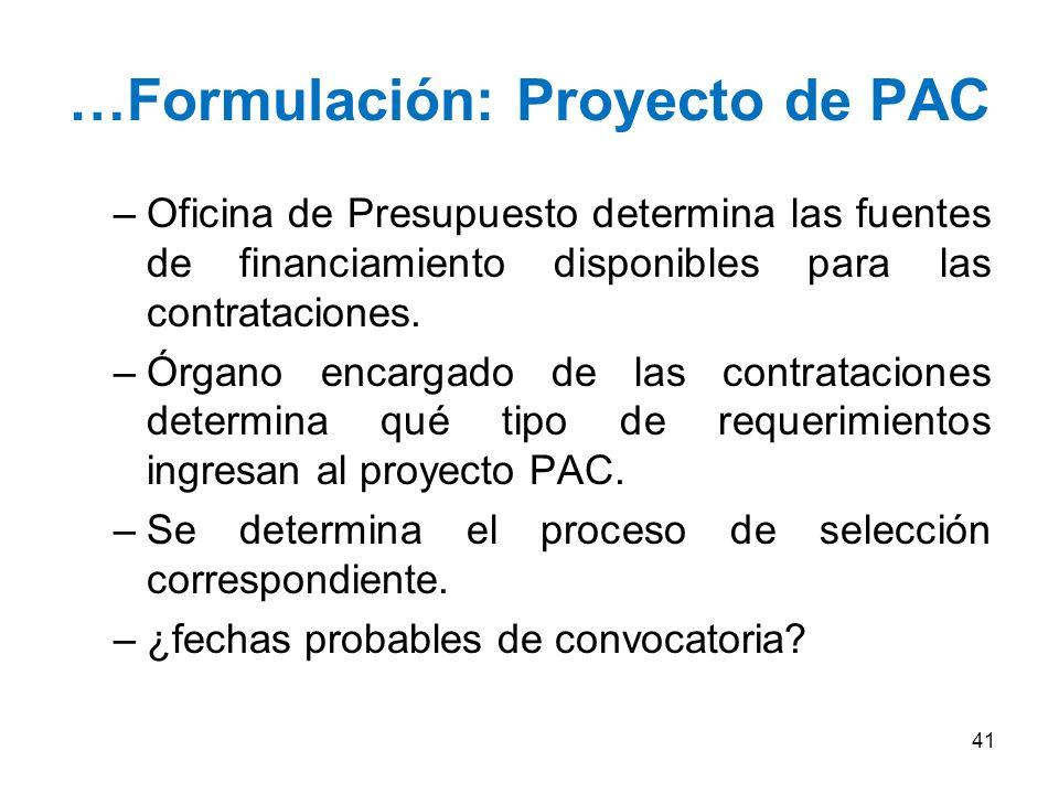 …Formulación: Proyecto de PAC