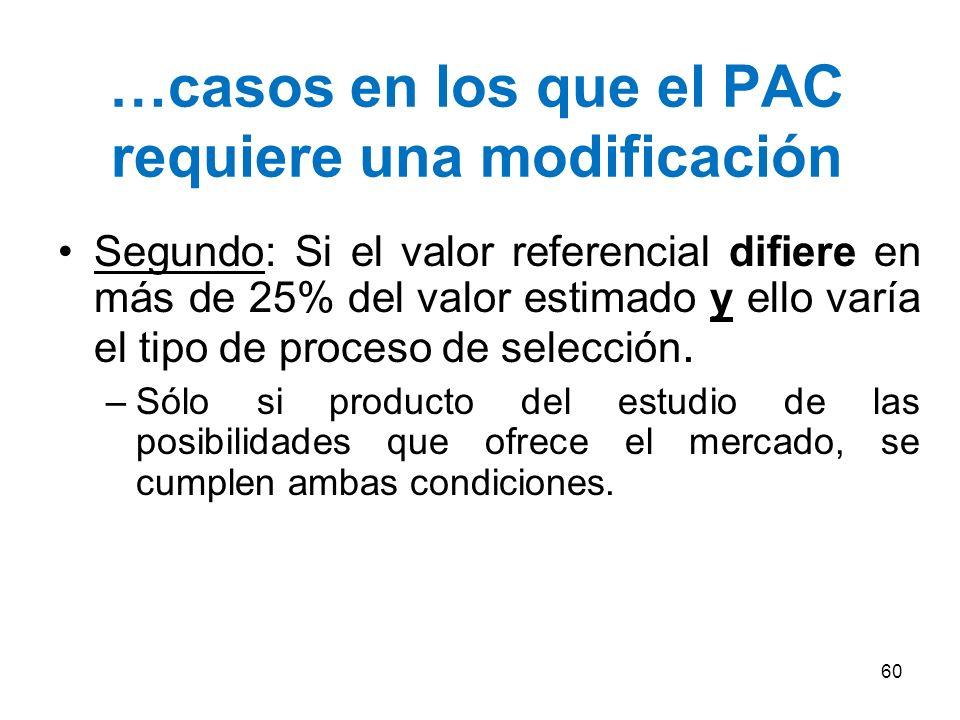 …casos en los que el PAC requiere una modificación