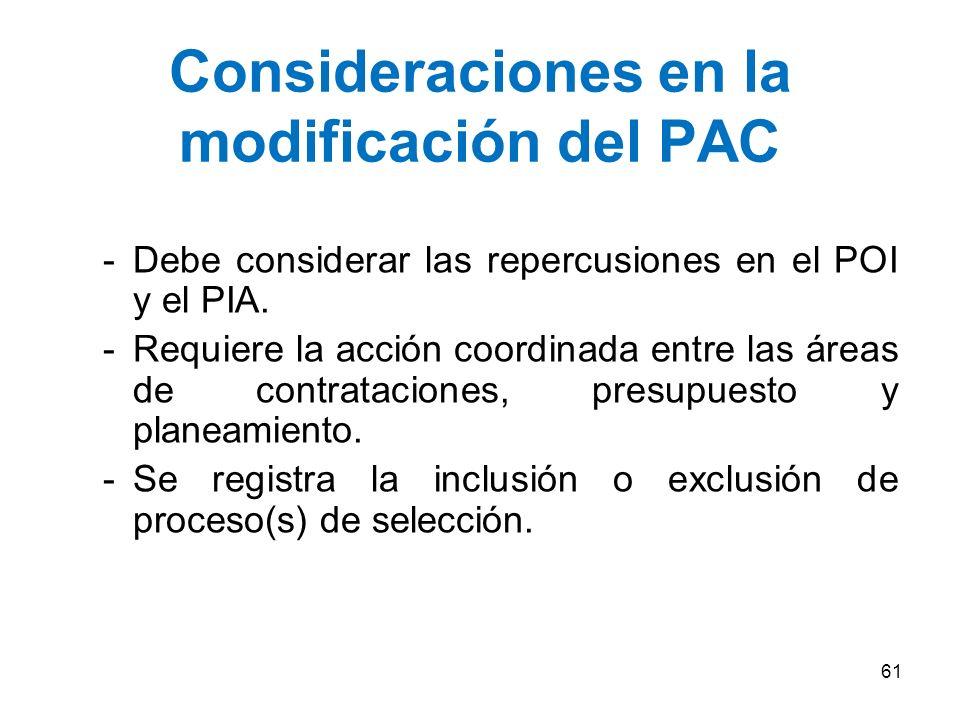 Consideraciones en la modificación del PAC