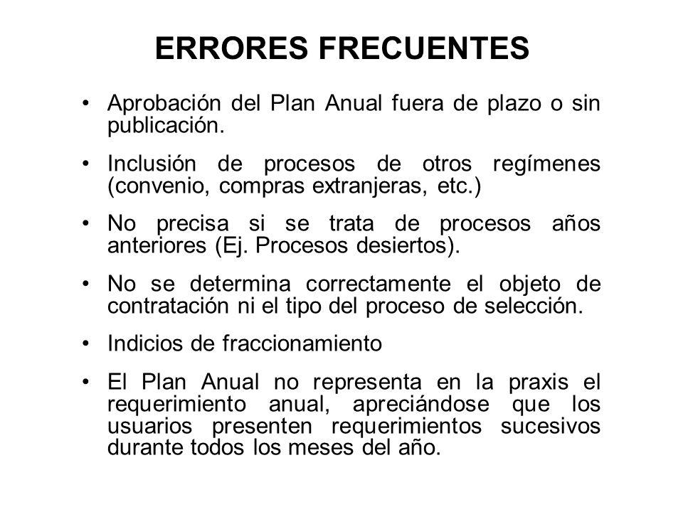 ERRORES FRECUENTES Aprobación del Plan Anual fuera de plazo o sin publicación.