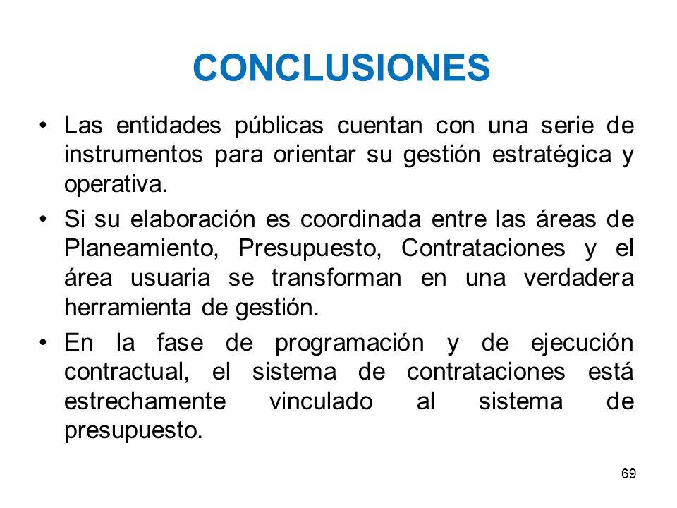CONCLUSIONES Las entidades públicas cuentan con una serie de instrumentos para orientar su gestión estratégica y operativa.