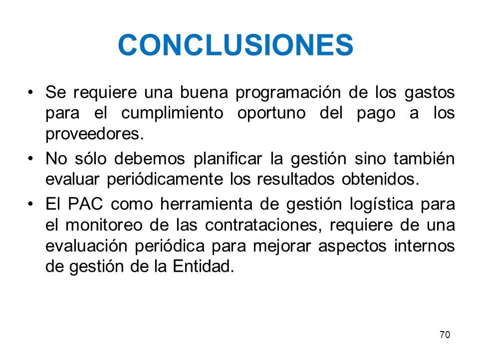 CONCLUSIONES Se requiere una buena programación de los gastos para el cumplimiento oportuno del pago a los proveedores.
