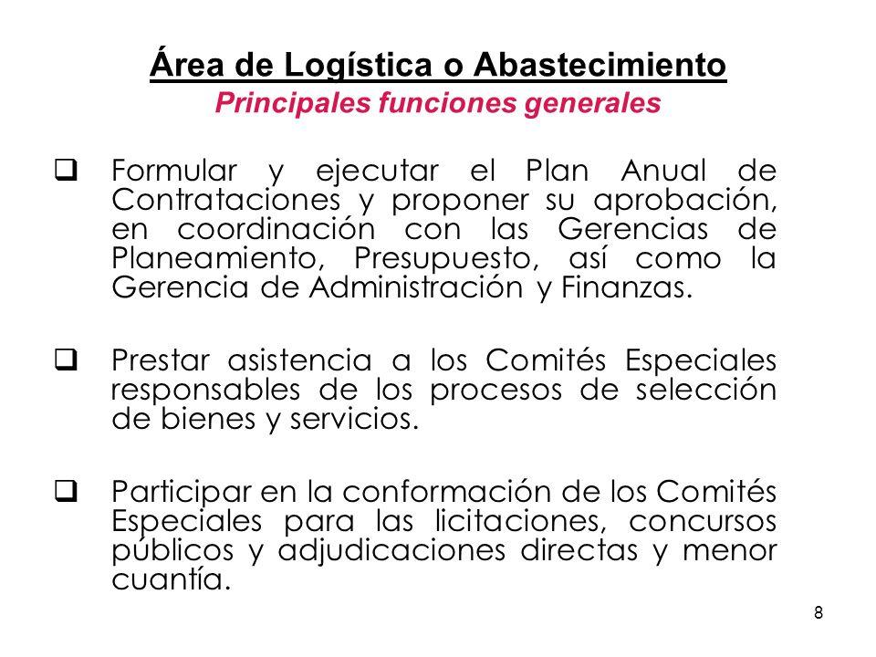 Área de Logística o Abastecimiento Principales funciones generales
