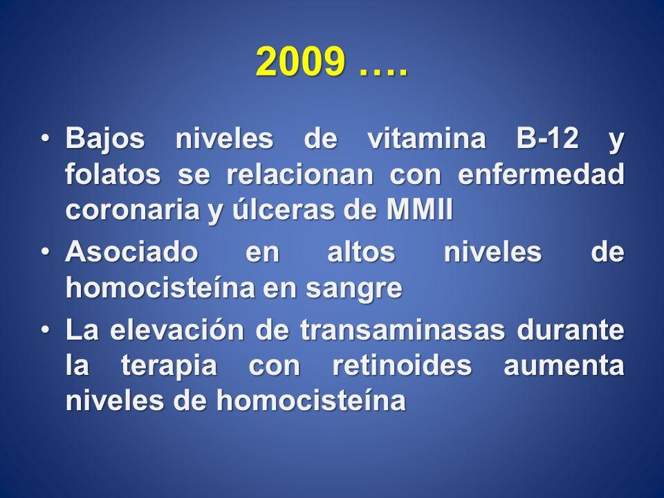 2009 …. Bajos niveles de vitamina B-12 y folatos se relacionan con enfermedad coronaria y úlceras de MMII.