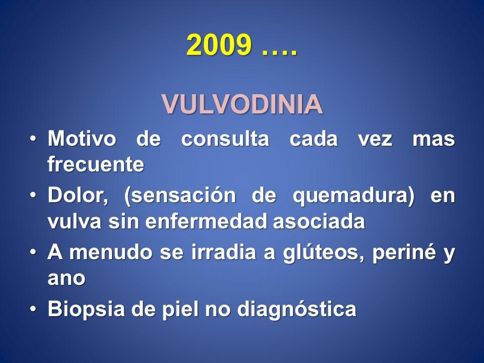 2009 …. VULVODINIA Motivo de consulta cada vez mas frecuente