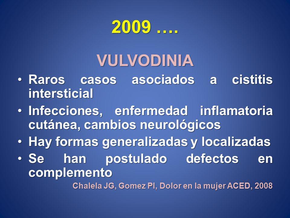 2009 …. VULVODINIA Raros casos asociados a cistitis intersticial