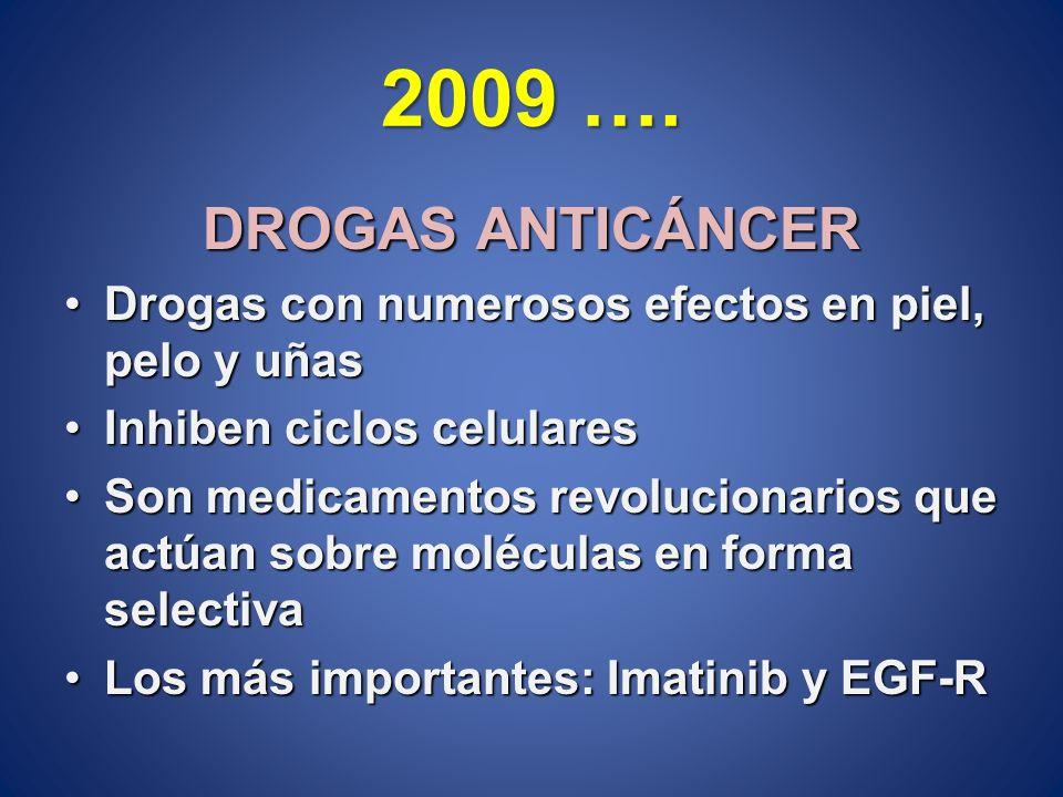 2009 …. DROGAS ANTICÁNCER. Drogas con numerosos efectos en piel, pelo y uñas. Inhiben ciclos celulares.